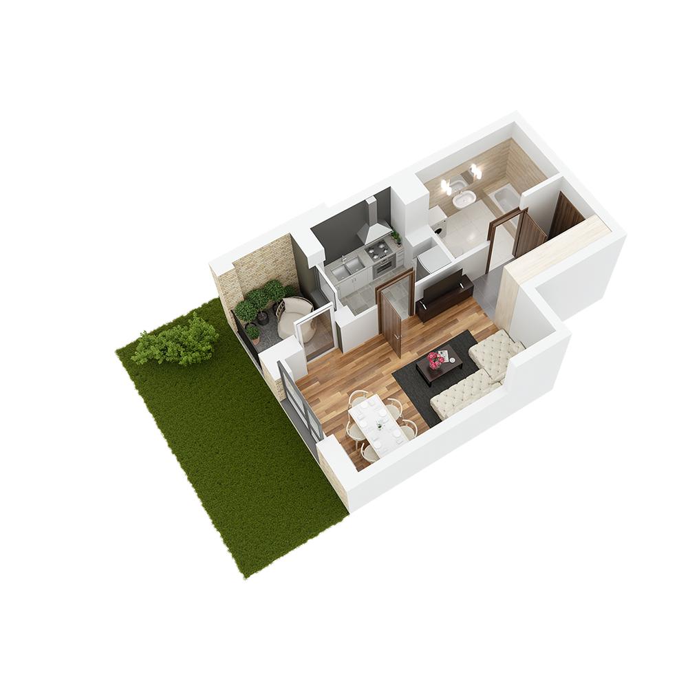 Mieszkanie 1-pokojowe PP-26-52