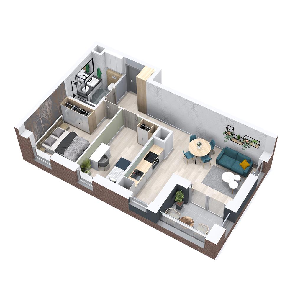 Mieszkanie 3-pokojowe PP-8B-44