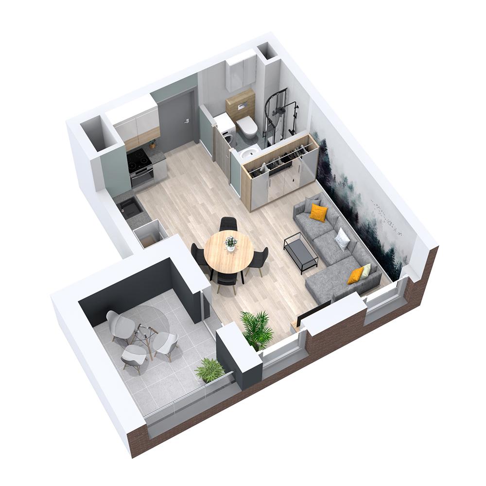 Mieszkanie 1-pokojowe PP-8B-10
