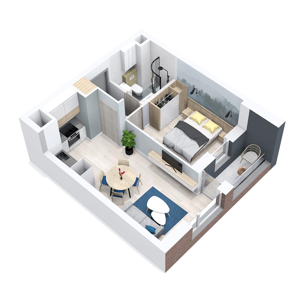 Mieszkanie 2-pokojowe PP-8B-73
