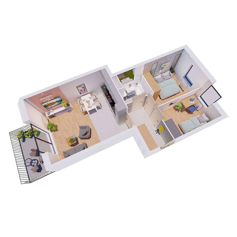 Mieszkanie 3-pokojowe R-A-42