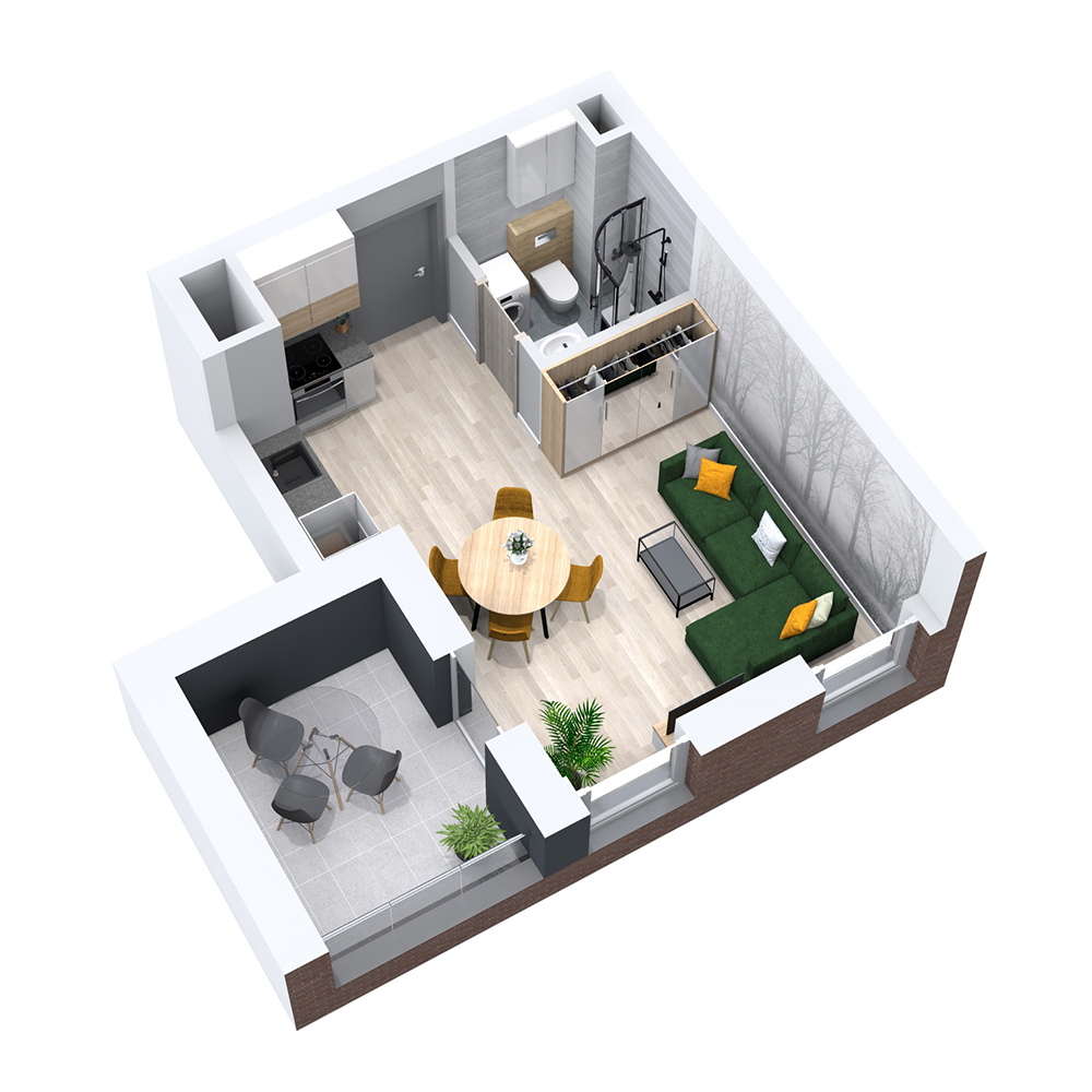 Mieszkanie 1-pokojowe PP-8B-24