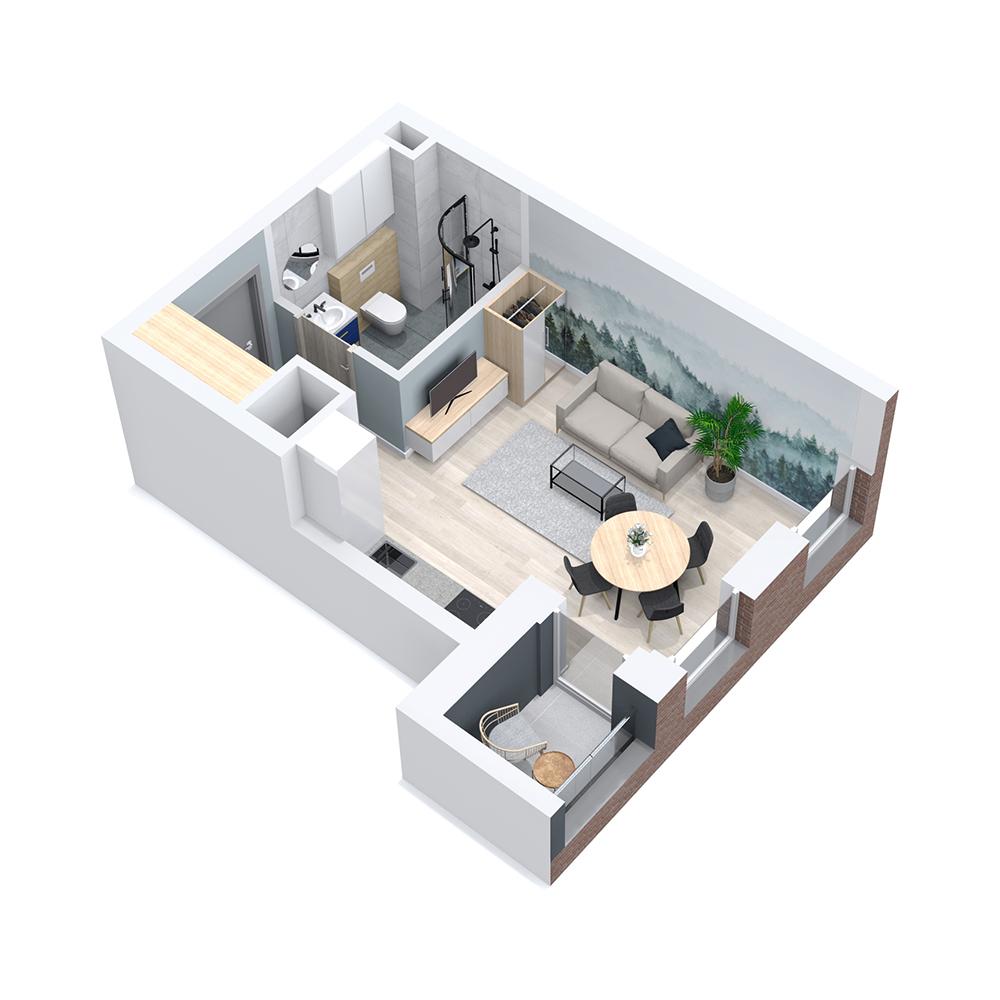 Mieszkanie 1-pokojowe PP-8C-92