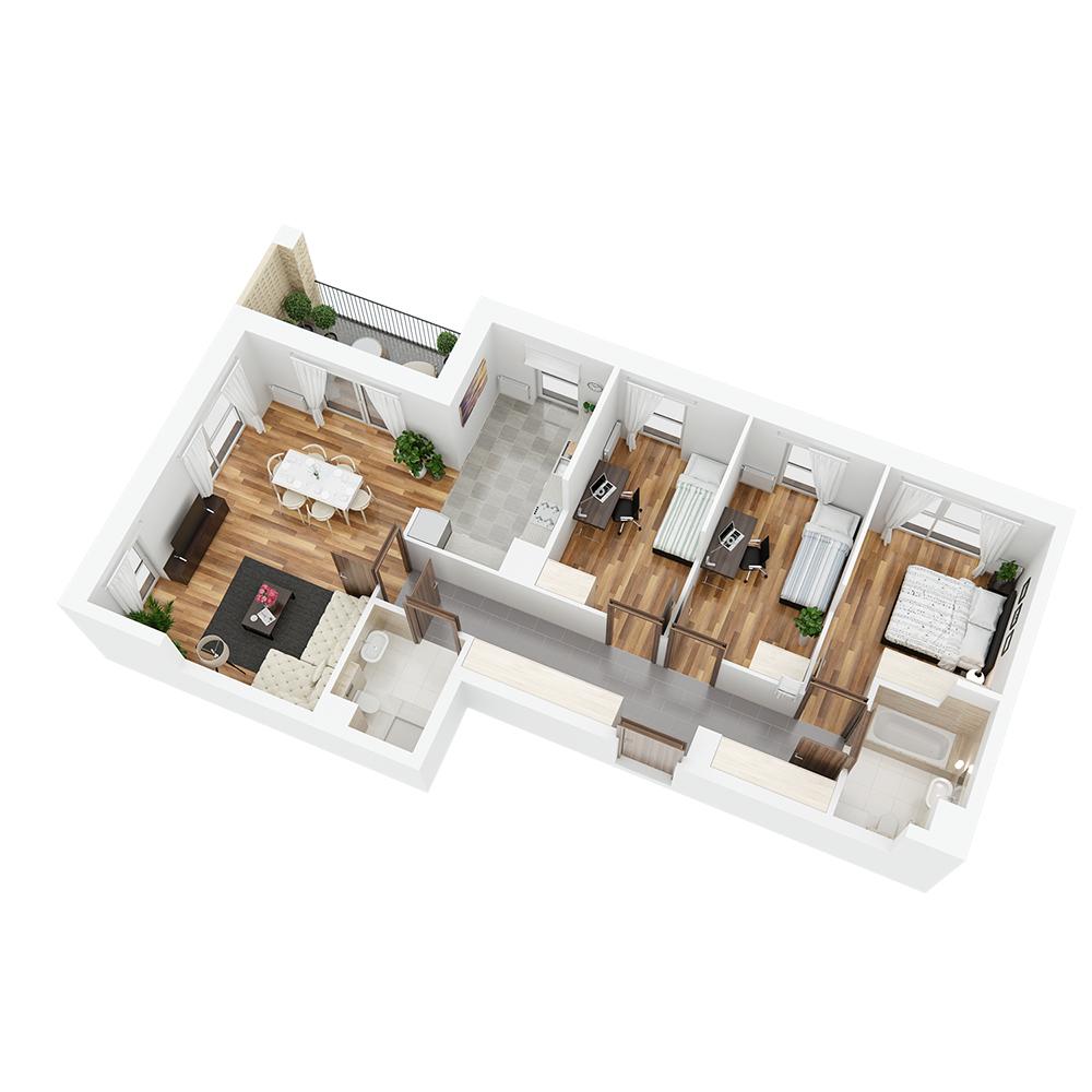Mieszkanie 4-pokojowe PP-24-65
