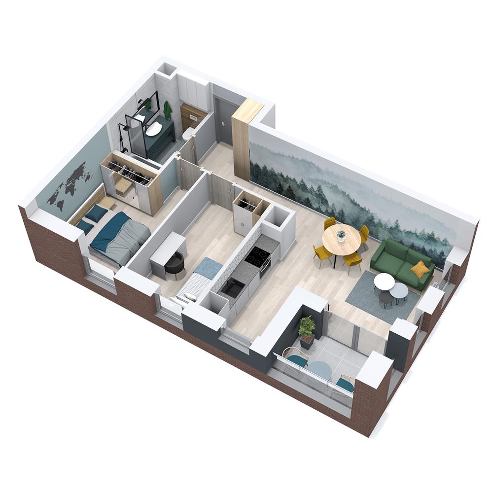 Mieszkanie 3-pokojowe PP-8B-37