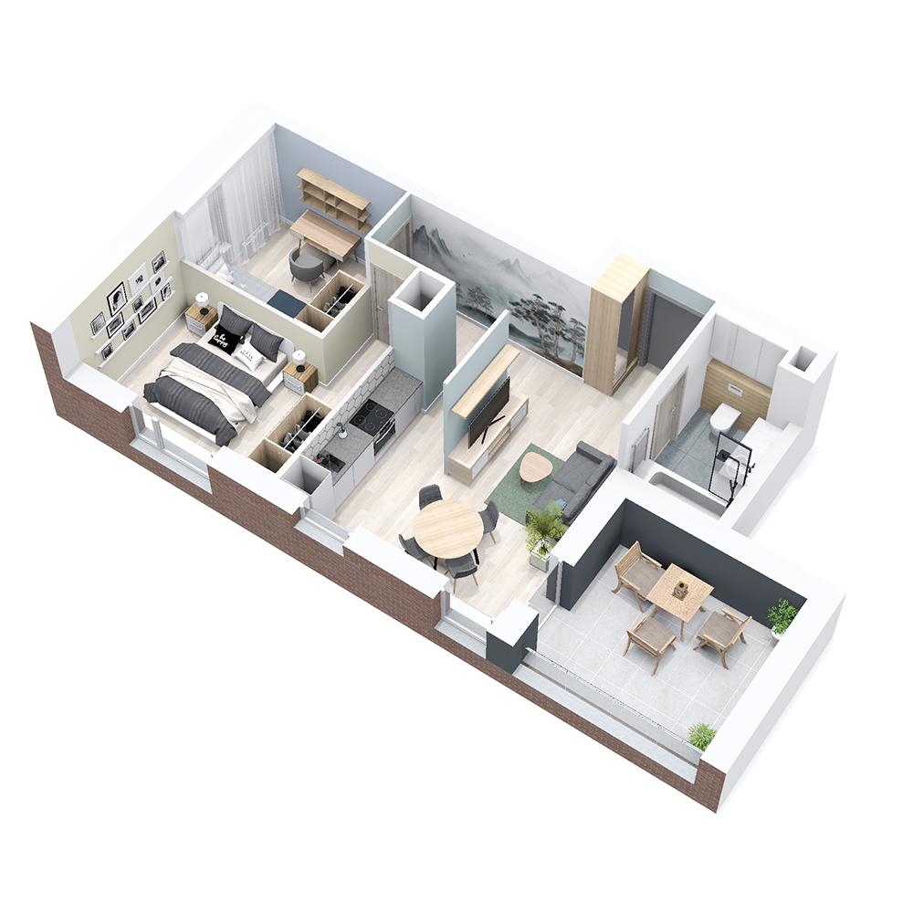 Mieszkanie 3-pokojowe PP-8B-75
