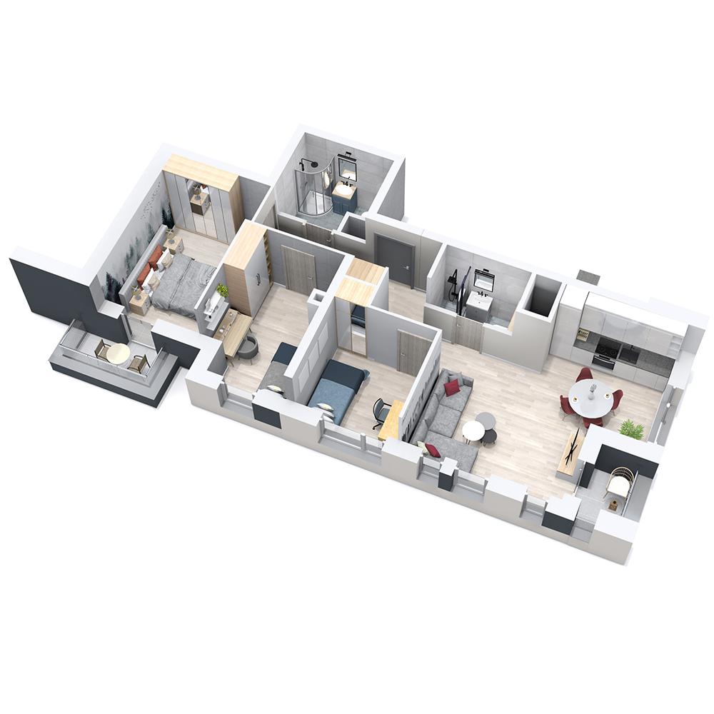 Mieszkanie 4-pokojowe PP-8D-8