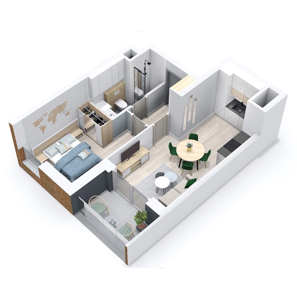 Mieszkanie 2-pokojowe PP-8B-74