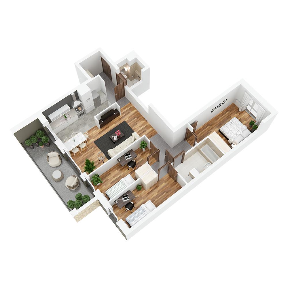 Mieszkanie 4-pokojowe PP-24-55