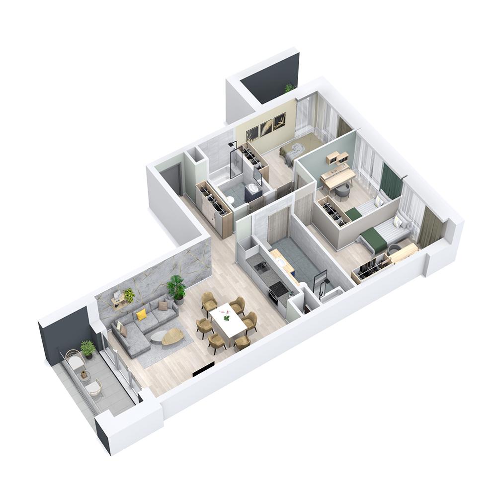 Mieszkanie 4-pokojowe PP-8C-16
