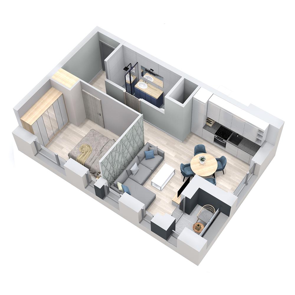 Mieszkanie 2-pokojowe PP-8D-62