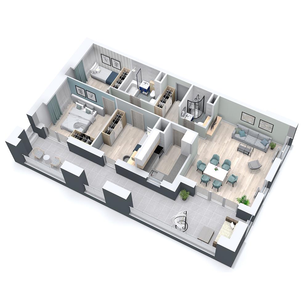 Mieszkanie 4-pokojowe PP-8C-15