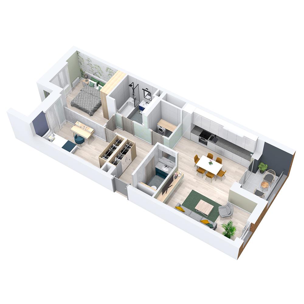 Mieszkanie 3-pokojowe PP-8B-54