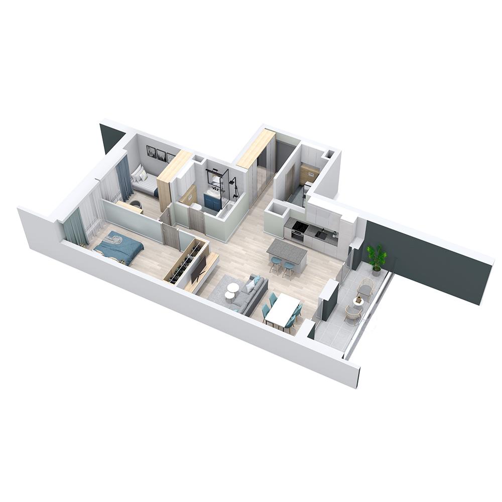 Mieszkanie 3-pokojowe PP-8C-55