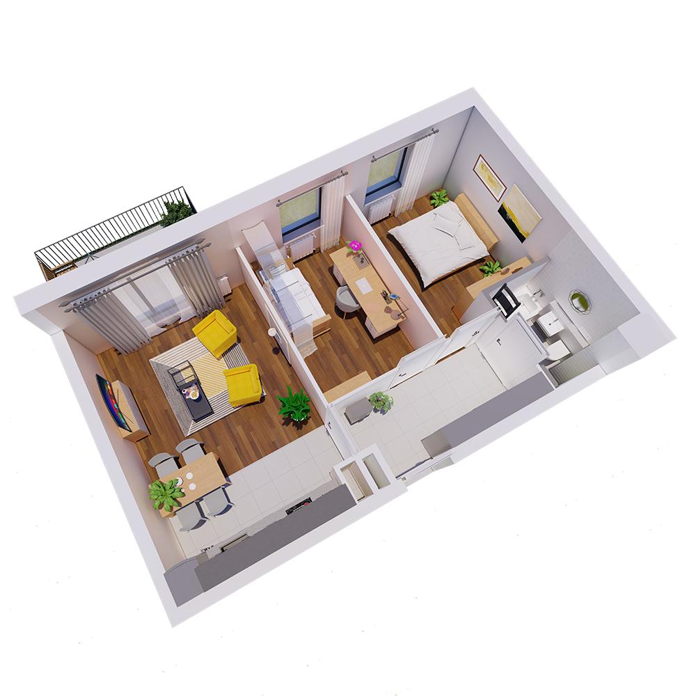 Mieszkanie 3-pokojowe R-B-18