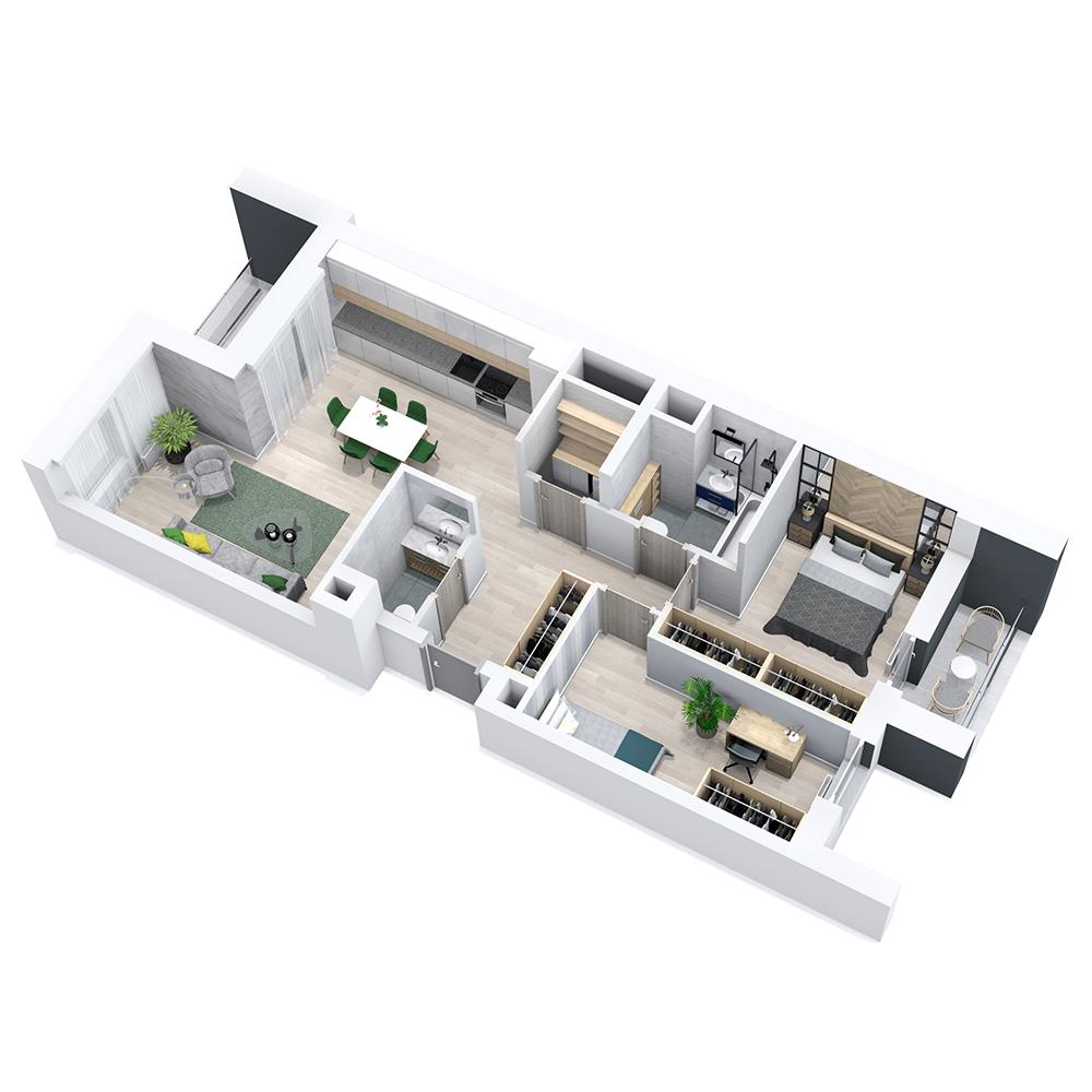 Mieszkanie 3-pokojowe PP-8B-46