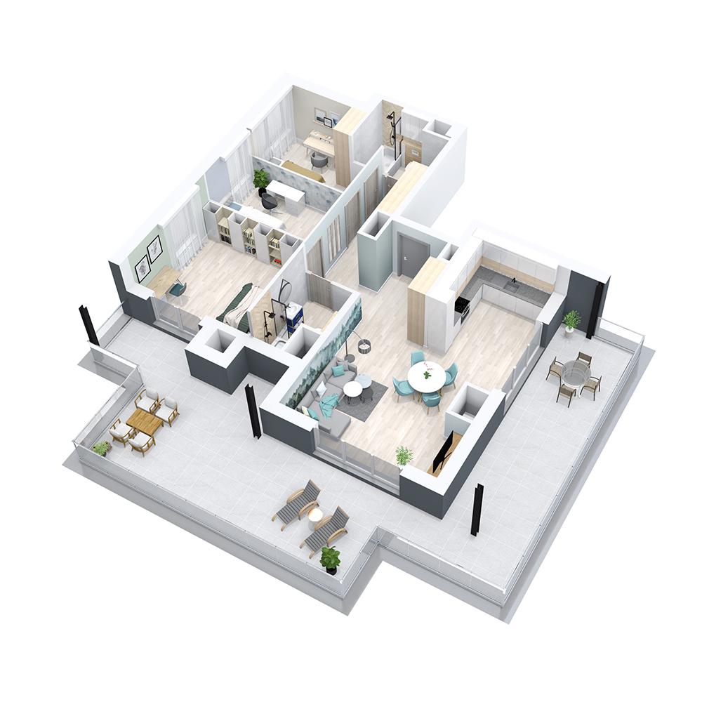 Mieszkanie 4-pokojowe PP-8B-48