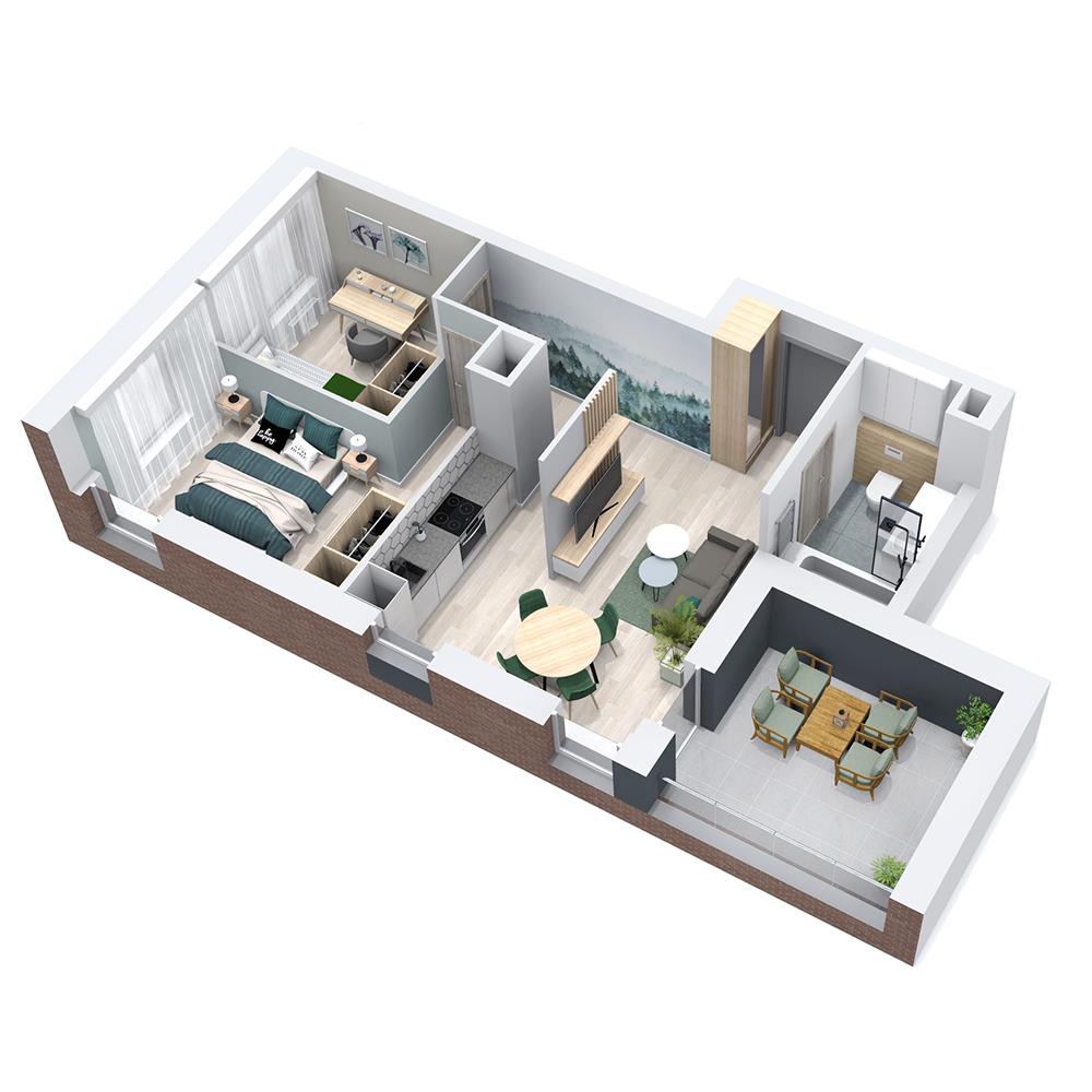 Mieszkanie 3-pokojowe PP-8B-60