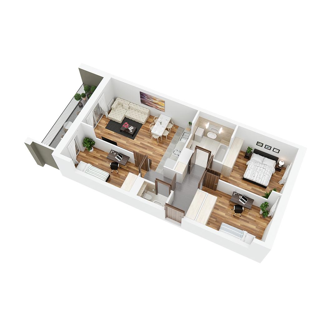 Mieszkanie 4-pokojowe PP-24-80