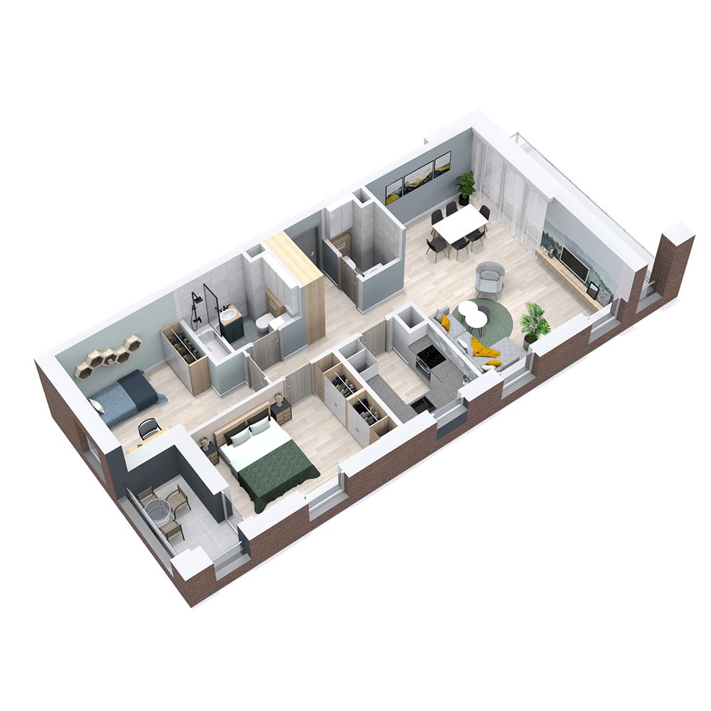 Mieszkanie 3-pokojowe PP-8C-104