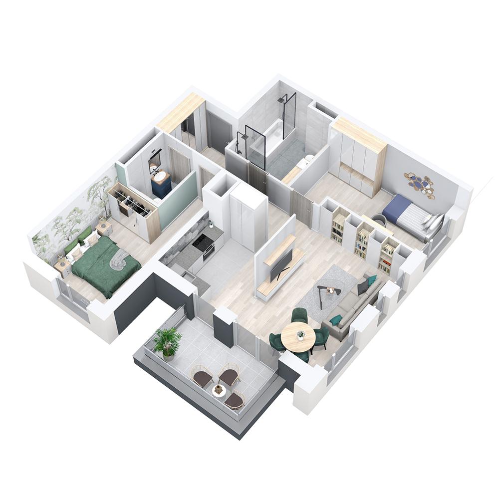 Mieszkanie 3-pokojowe PP-8D-49