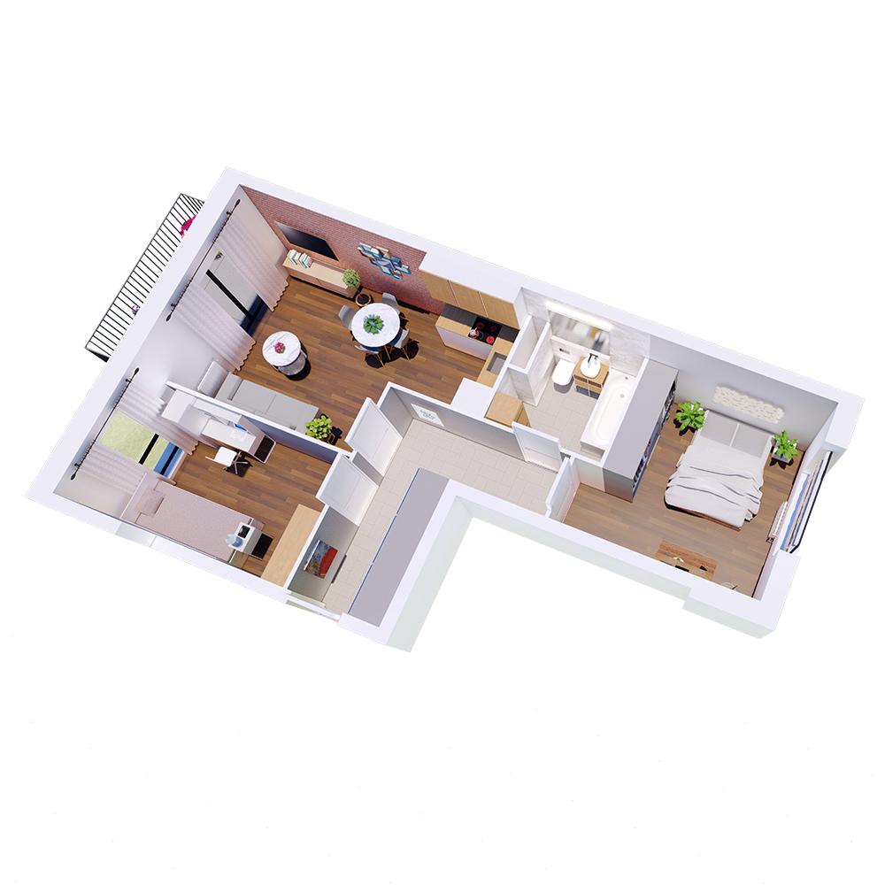 Mieszkanie 3-pokojowe R-A-75
