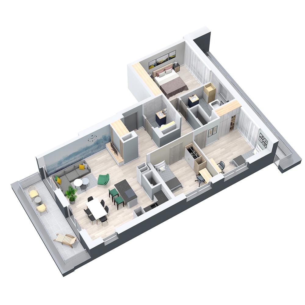 Mieszkanie 4-pokojowe PP-8D-65