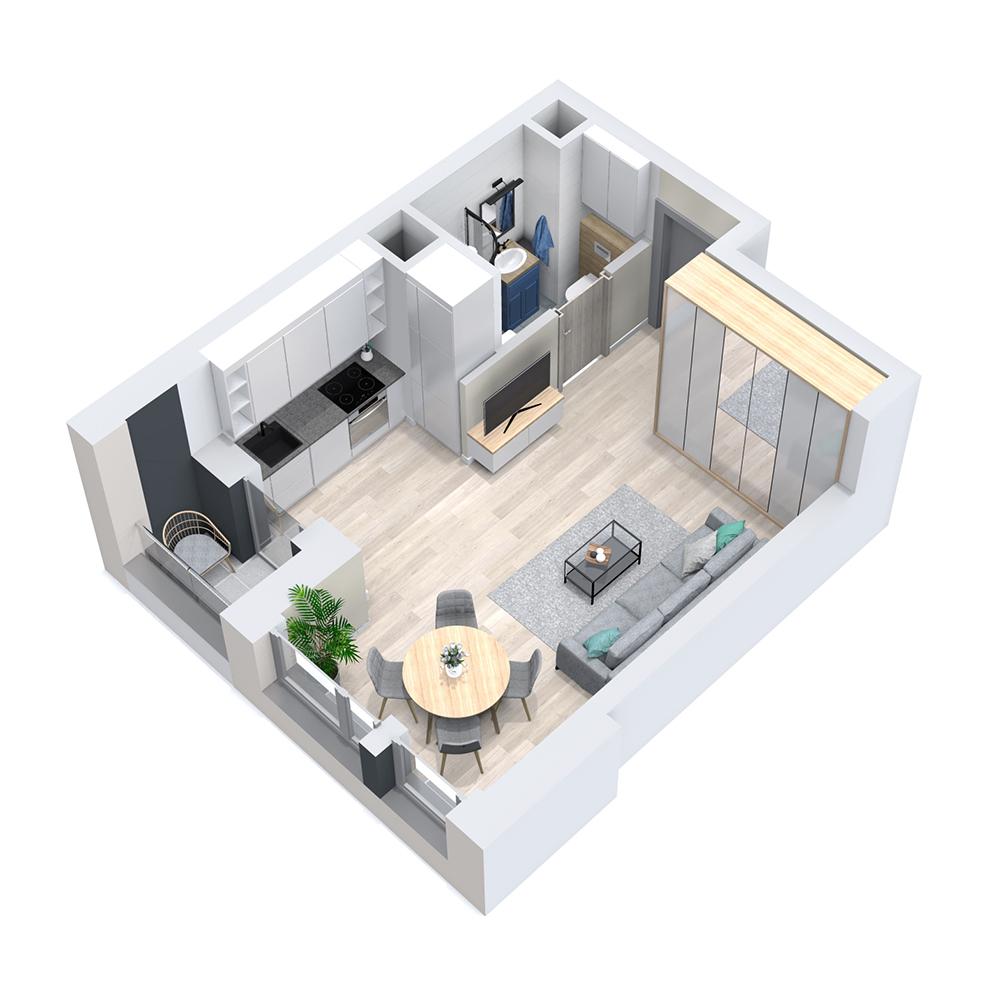 Mieszkanie 1-pokojowe PP-8D-31