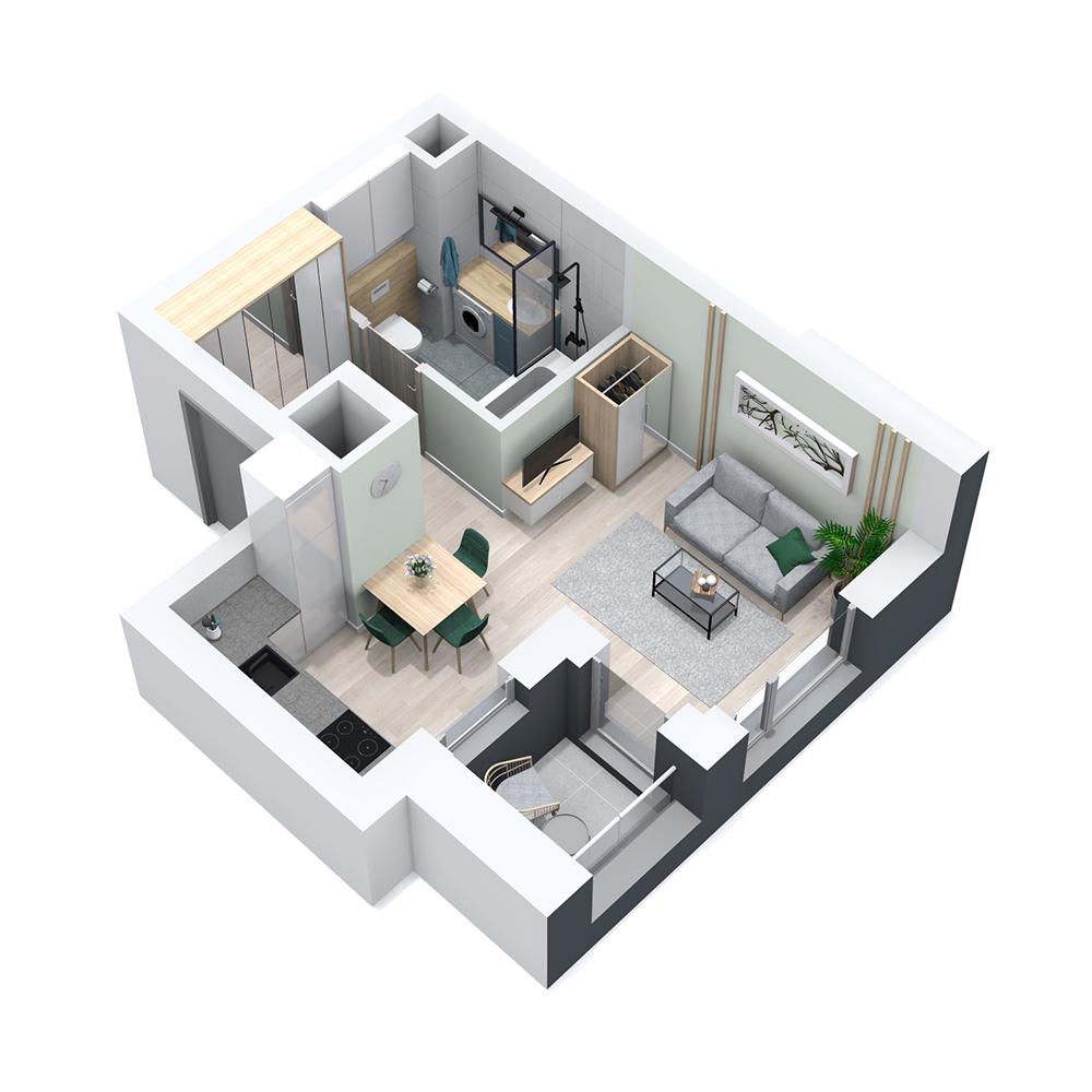 Mieszkanie 1-pokojowe PP-8C-2