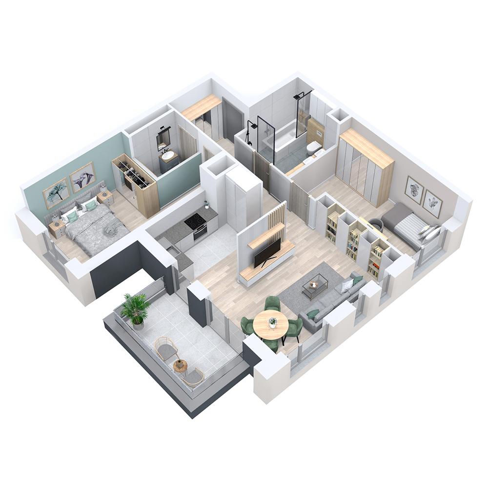 Mieszkanie 3-pokojowe PP-8D-9