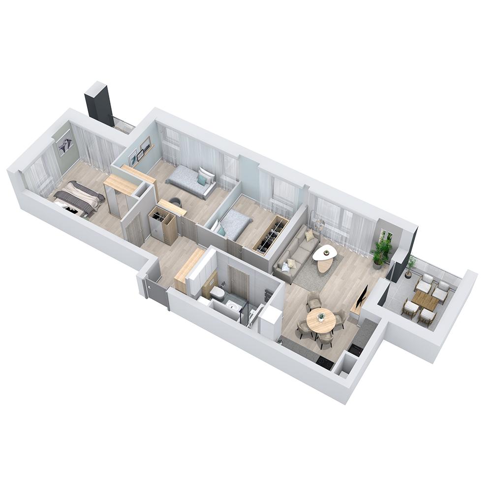 Mieszkanie 4-pokojowe PP-8B-4