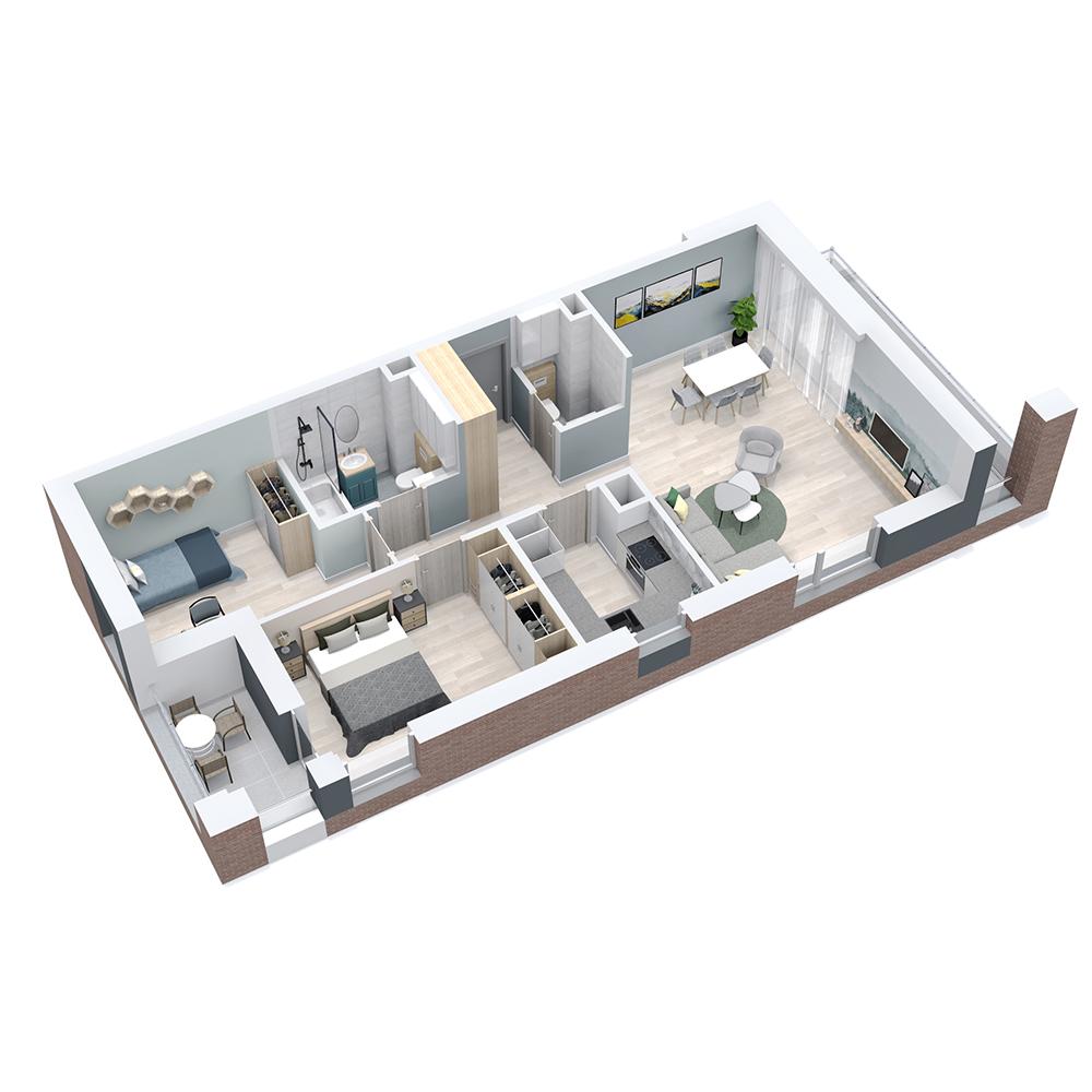 Mieszkanie 3-pokojowe PP-8C-107