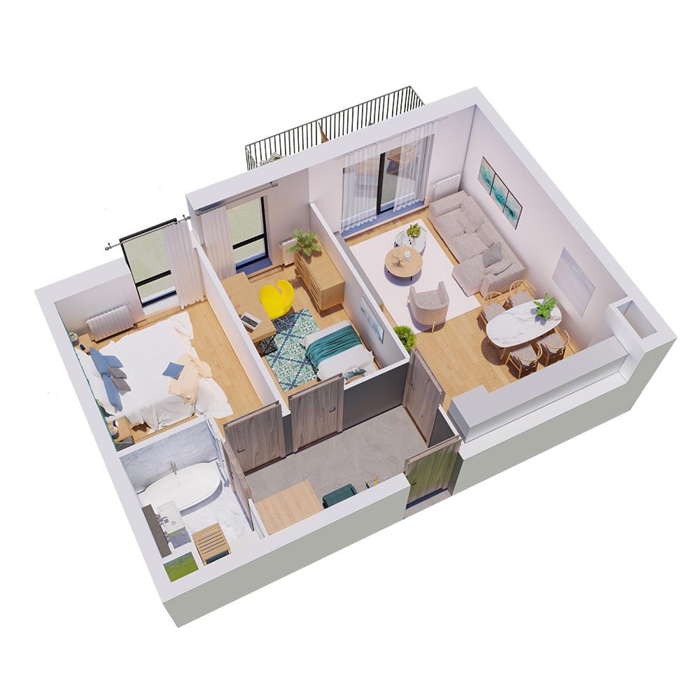 Mieszkanie 3-pokojowe R-B-15