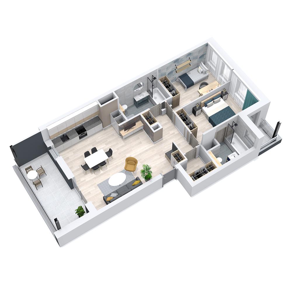 Mieszkanie 3-pokojowe PP-8C-88