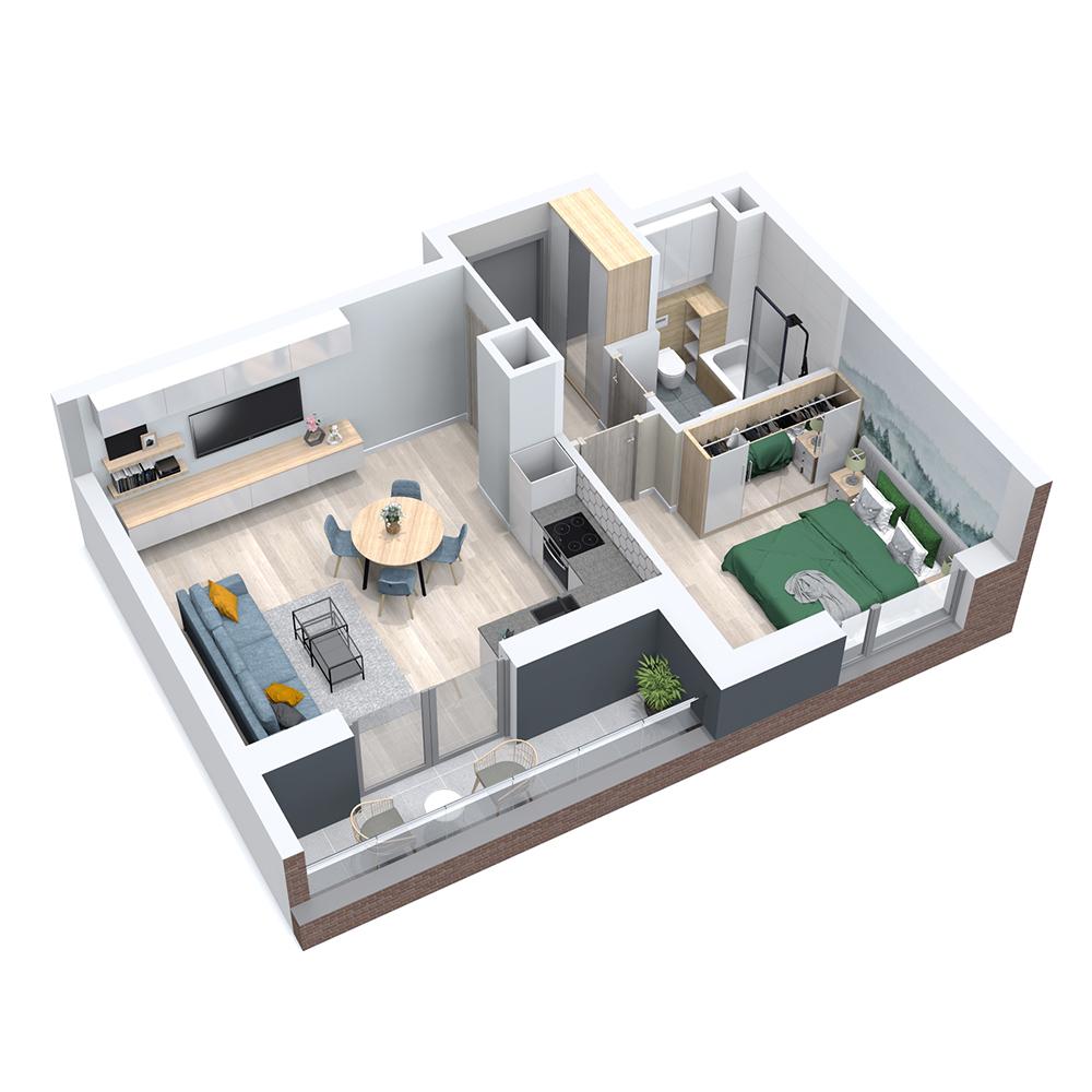 Mieszkanie 2-pokojowe PP-8B-62