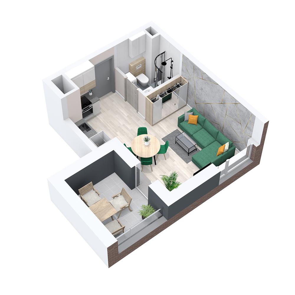 Mieszkanie 1-pokojowe PP-8B-17