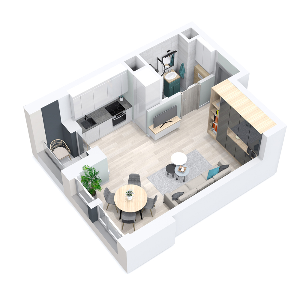 Mieszkanie 1-pokojowe PP-8D-16
