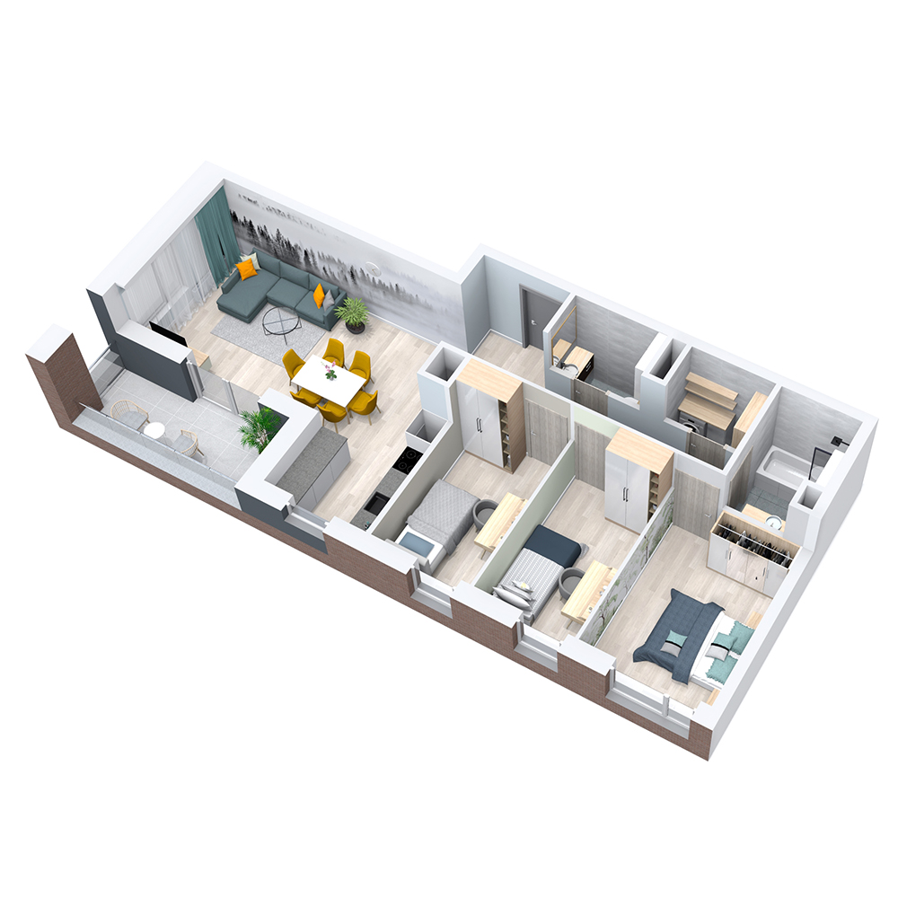 Mieszkanie 4-pokojowe PP-8C-36