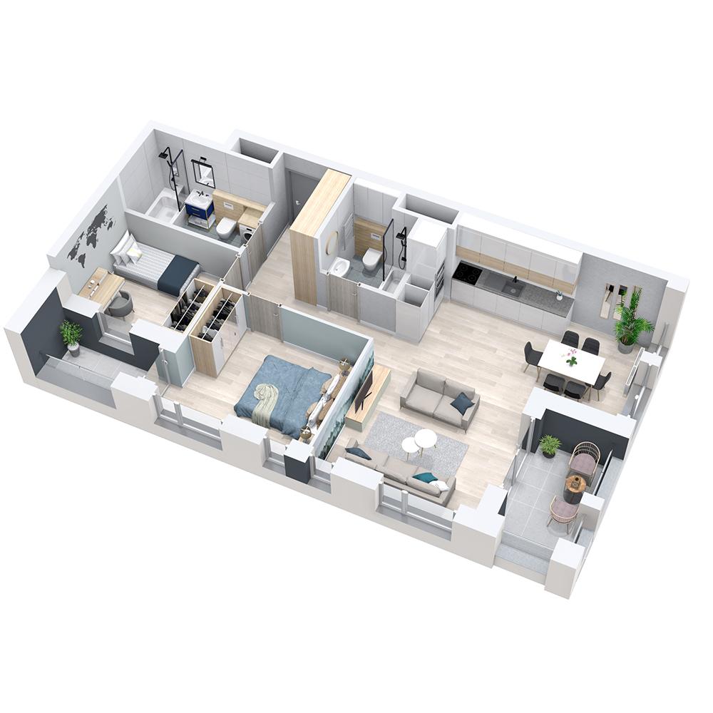 Mieszkanie 3-pokojowe PP-8D-25