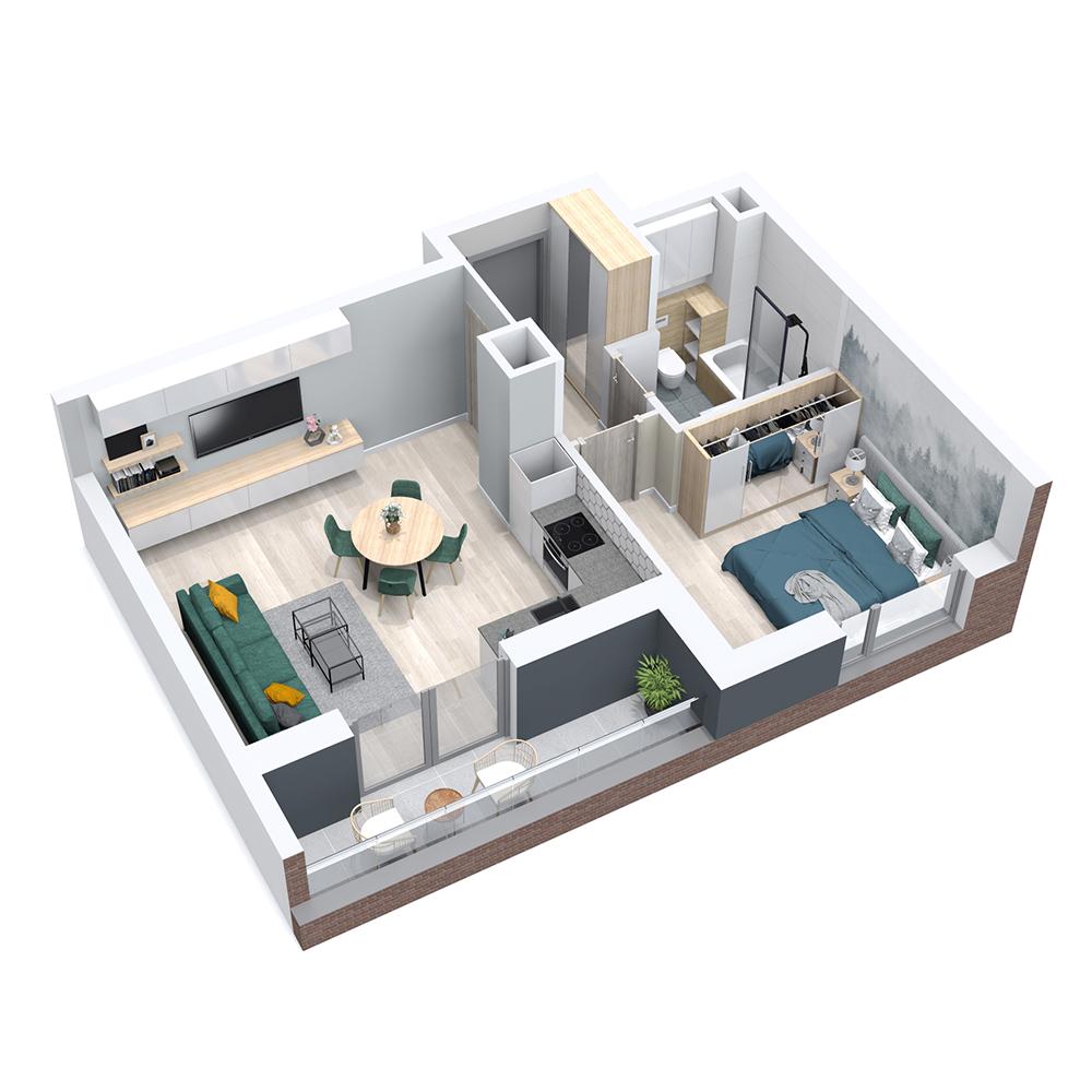 Mieszkanie 2-pokojowe PP-8B-72