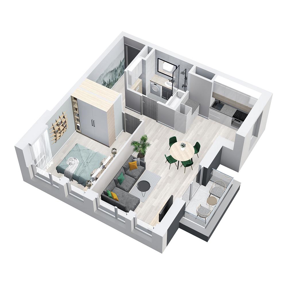 Mieszkanie 2-pokojowe PP-8D-48