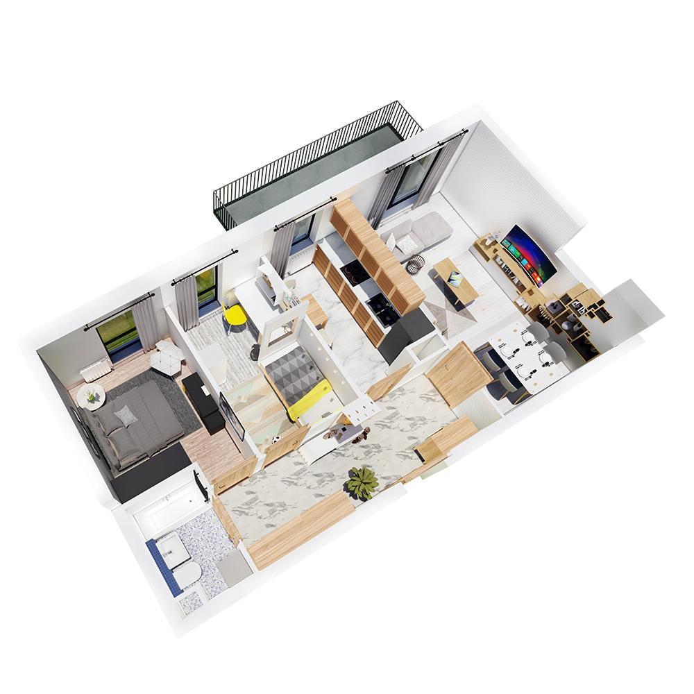 Mieszkanie 3-pokojowe R-B-21