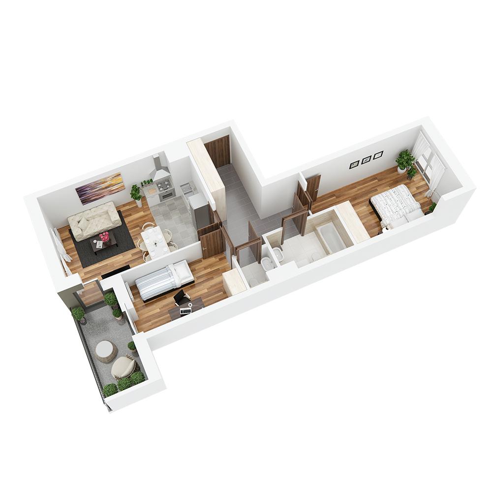Mieszkanie 3-pokojowe PP-26-44
