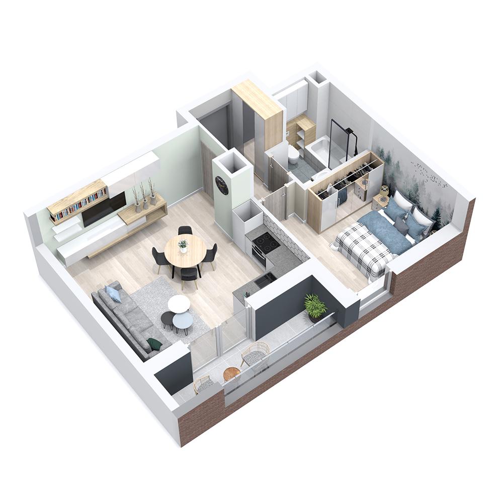 Mieszkanie 2-pokojowe PP-8B-57