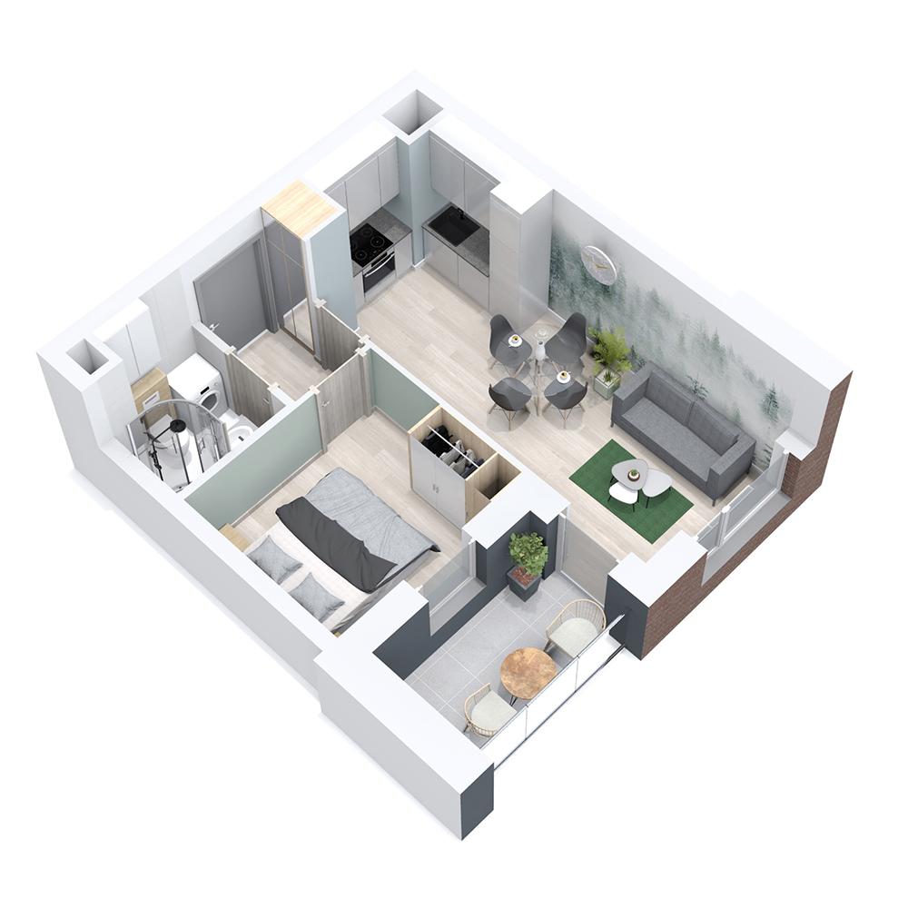 Mieszkanie 2-pokojowe PP-8B-34