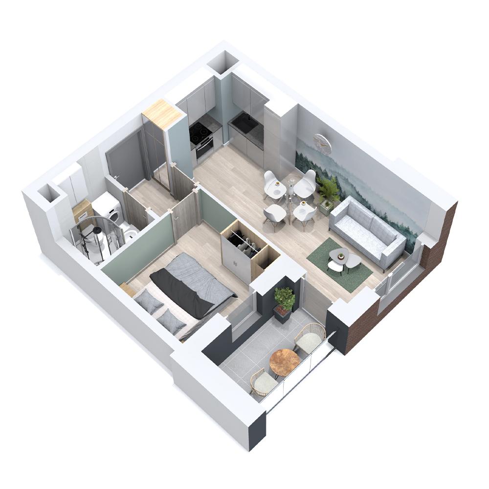 Mieszkanie 2-pokojowe PP-8B-27