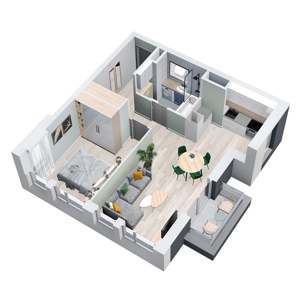 Mieszkanie 2-pokojowe PP-8D-43