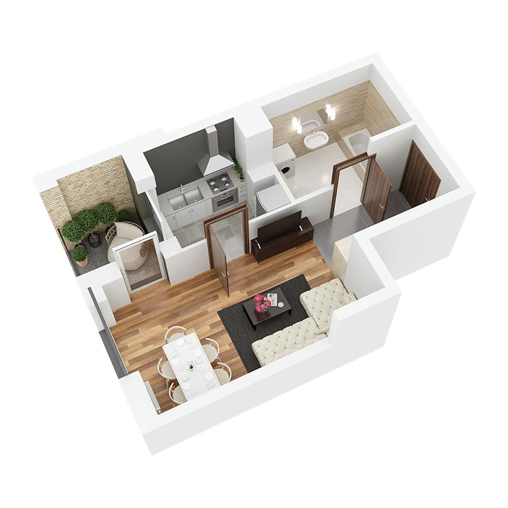 Mieszkanie 1-pokojowe PP-26-57