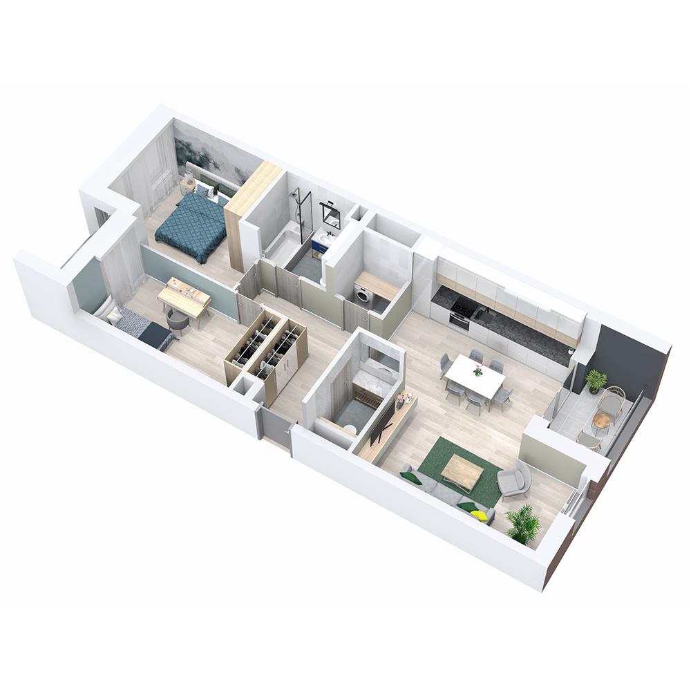 Mieszkanie 3-pokojowe PP-8B-50