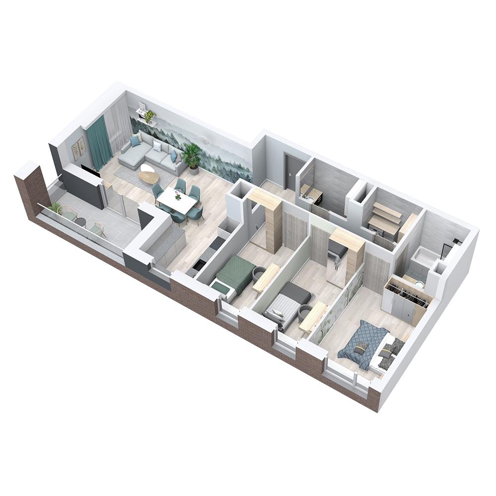 Mieszkanie 4-pokojowe PP-8C-48